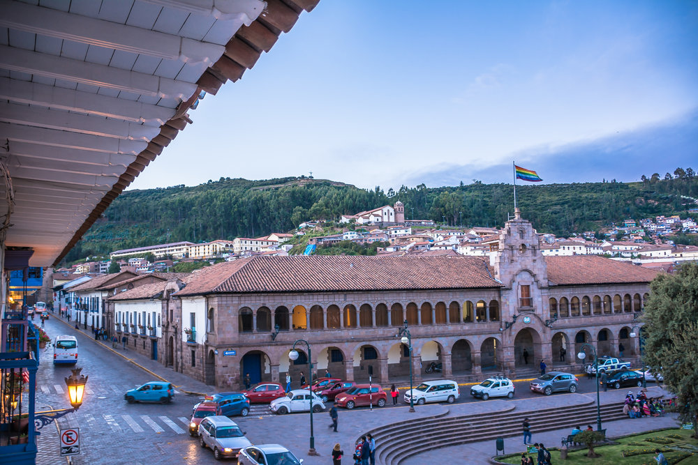 View of Cusco from a Colonial balcony, Peru
