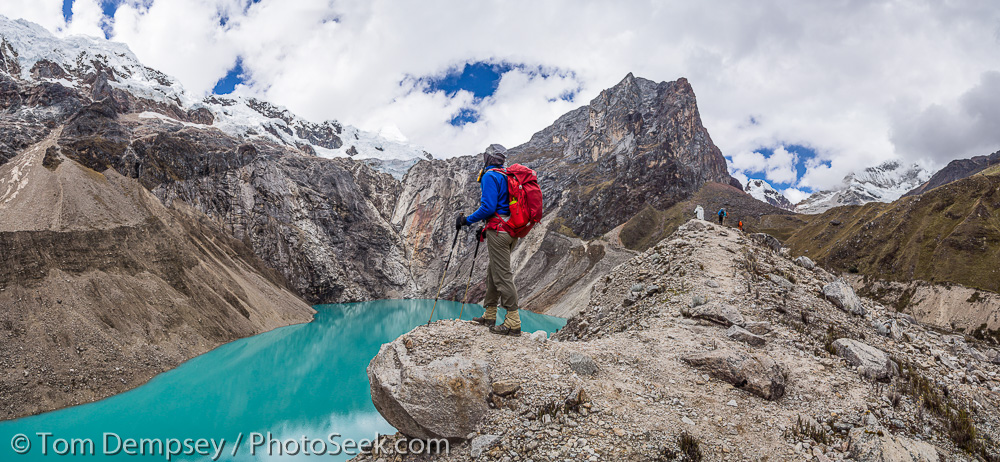 Panoramic of Lake Jancarusish, hiking around Mtn. Alpamayo. Photography by NP's traveler, Tom Dempsey