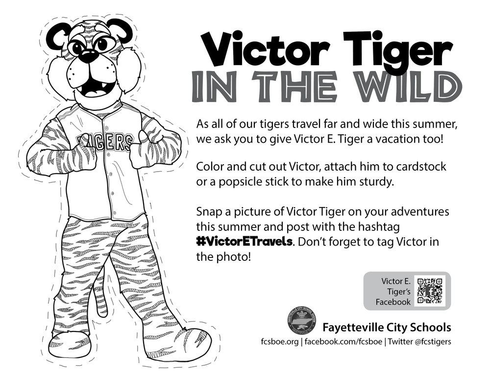 Victor in the Wild is Fayetteville City School's take on Flat Stanley. Students (and staff) colored my illustration of our school mascot, Victor E. Tiger, cut it out, and took him on their summer adventures. Photos were posted online using the hashtag #VictorETravels.