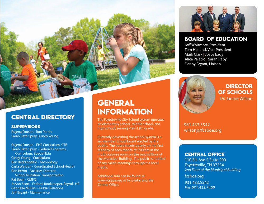The 2 images above are previews of the 2018 Fayetteville City Schools informational brochure.