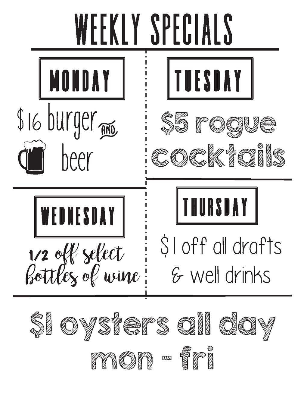Weekly Specials — The Rogue Irish Pub & Kitchen | 1315 East Blvd ...