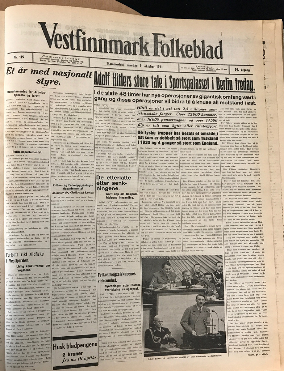 Front page of the Vestfinnmark Folkeblad newspaper from October 6, 1941