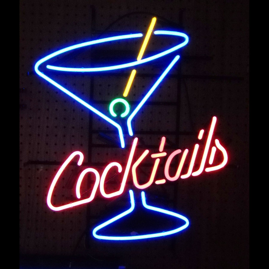 cocktails sign in neon