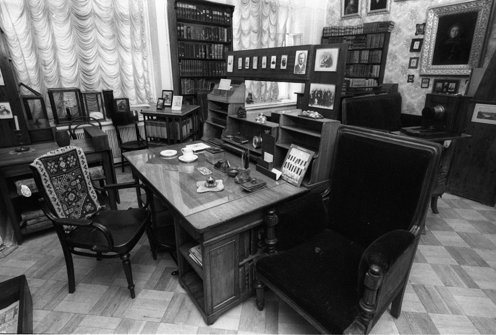 This is Mendeleev's actual desk. He slept in his office also, of course.