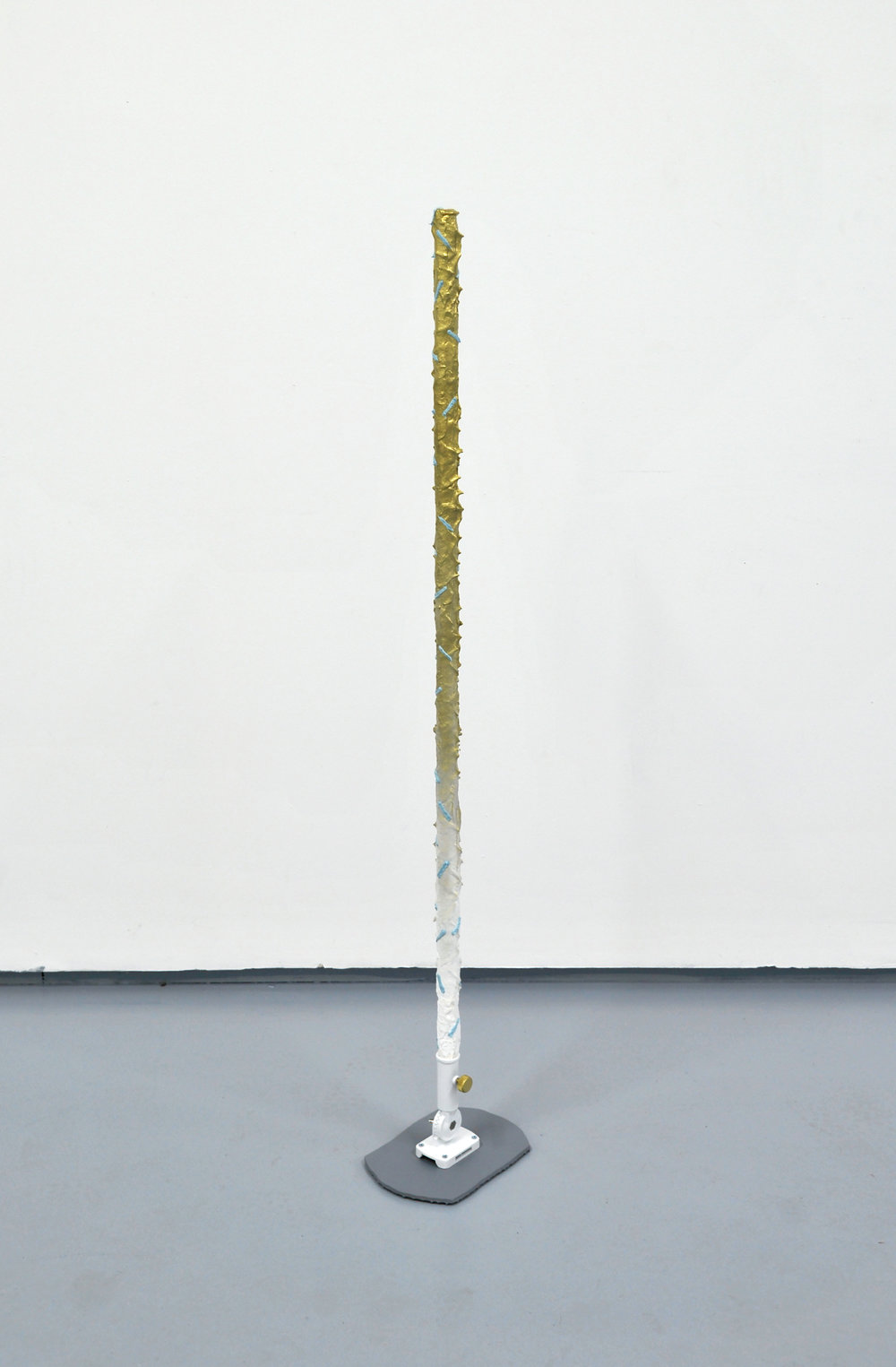 Pole (Gilded Mop)  Acrylic, enamel, sand, primer, wood, metal hardware, MDF  10 x 53 x 7 inches  2014