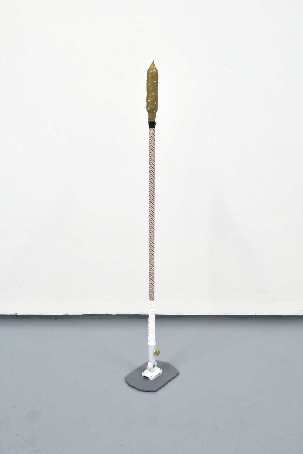 Pole (The Russian's Hockey Stick)  Acrylic, enamel, sand, fabric tape, wood, metal hardware, MDF  10 x 54 x 7 inches  2014