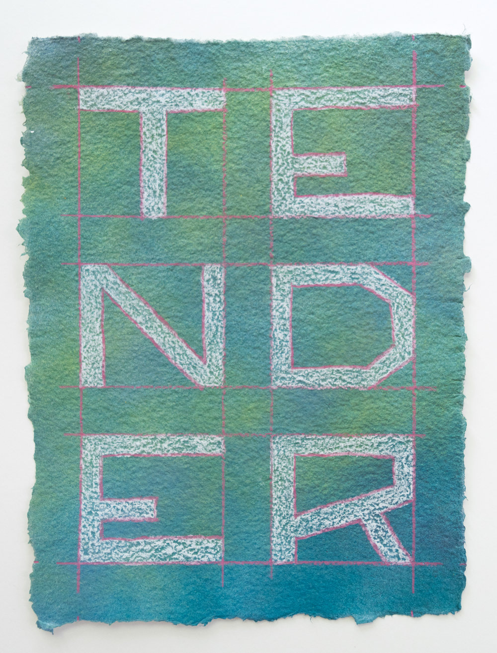 Sometimes Hard Somtimes (Tender)  Enamel, colored pencil, handmade paper  9 x 12 inches  2017