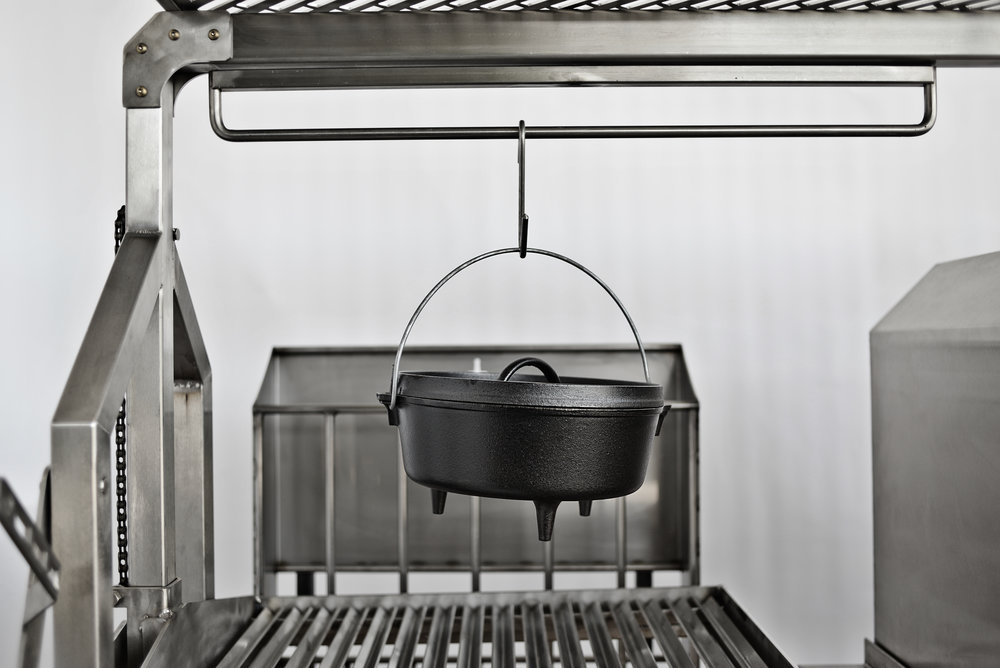 When you are done cooking the stew over the direct heat, you can place it on the swivel arm for hours of slow cooking.