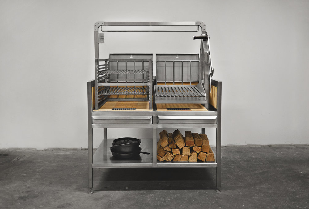 "The 404 Bolus model is developed in collaboration with Matt Bolus from  404 Kitchen  in Nashville, TN.  It is a 48"" x 36"" base with a right hand tower and removable speed rack system. The grill grates on the tower and speed rack are interchangeable."