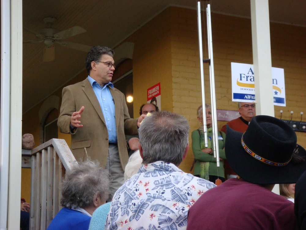 Senator Al Franken speaking at the Poor Farm Studios