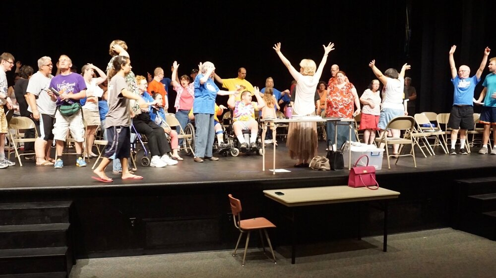 Wilbur in rehearsal with her Mankato theater group the Aktion Club Theater