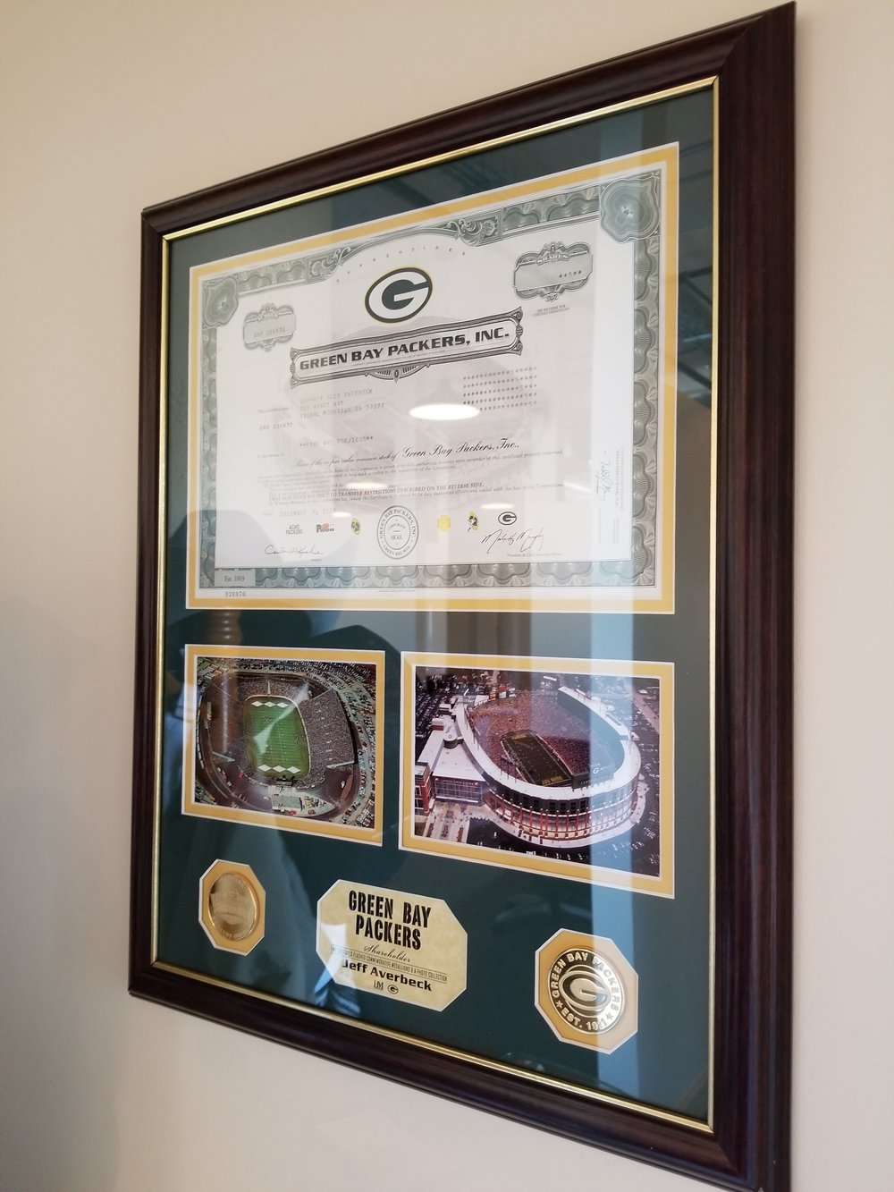 Jeff Averbeck's Green Bay Shareholder plaque!
