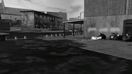 A screen-grab from the Bloody Sunday re-creation created by Gigawatt Studios with their 3-D game engine for the Hidden Truth exhibition curated by Trisha Ziff at the California Museum of Photography in 2000.