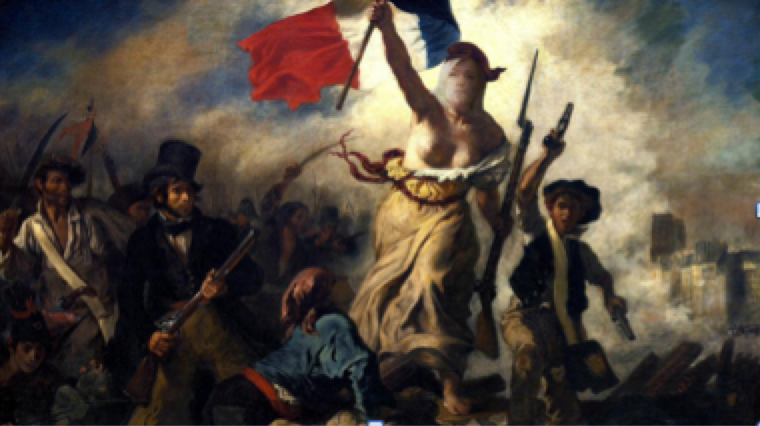 (This isn't so clear here, but we can see Marine Le Pen's face instead of the original la Marianne guiding the French People.)