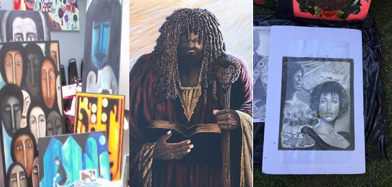 Artworks displayed at the 9th Festival for All Skid Row Artists, November 2018