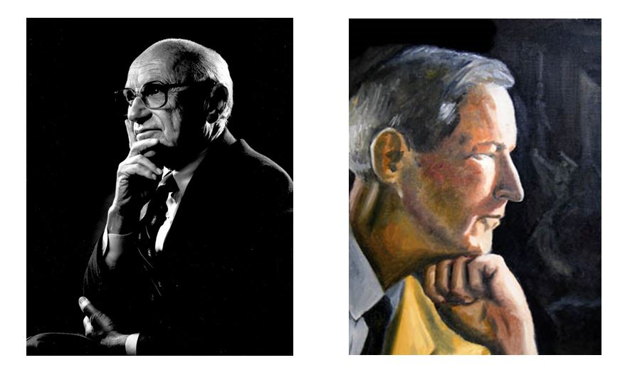"""Currently all of the images on Wikipedia's """"Intellectuals"""" page are of white men as of February 2019—many depict an isolated man looking off into the distance, as exemplified by these portraits of Milton Friedman and Jacques Barzun (the first person to add a picture of bell hooks to this Wikipedia page can email me for a prize)."""