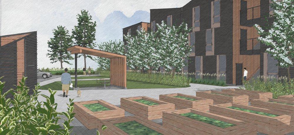 Progress rendering of the landscape design at The Elwood