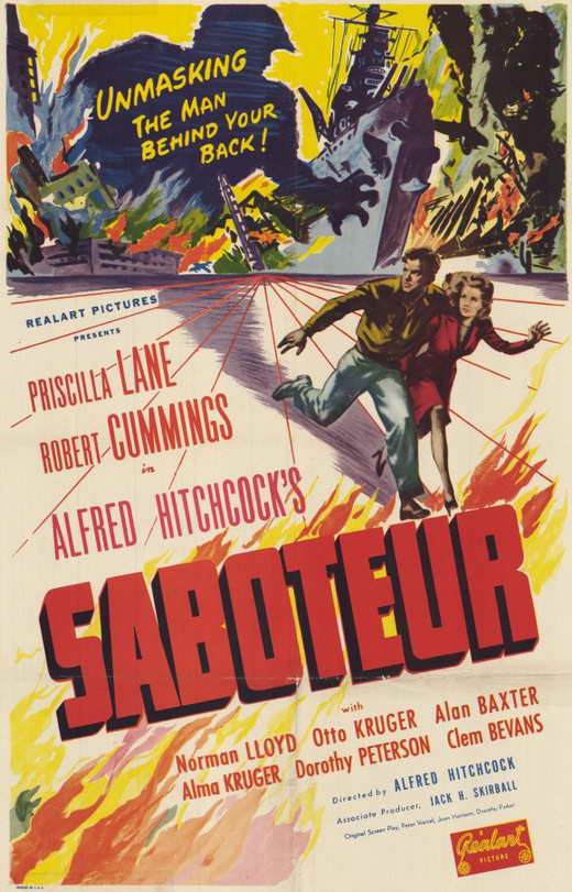 Day 17: Saboteur  - Hitchock's  Saboteur  follows a factory worker who's been framed for the murder of his friend in a fire started in the factory they work in. This film encompasses a lot of the Hitchcock techniques he would master later on in this early American film from the Master of Suspense himself.