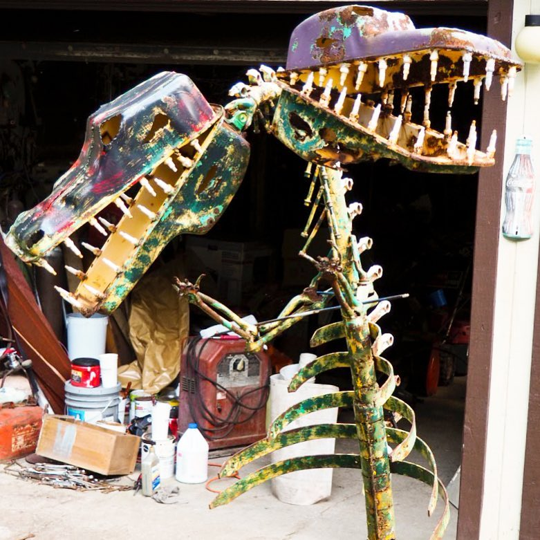 Two Headed Dinosaur at Schaefer's Auto Art in Erie PA.jpg