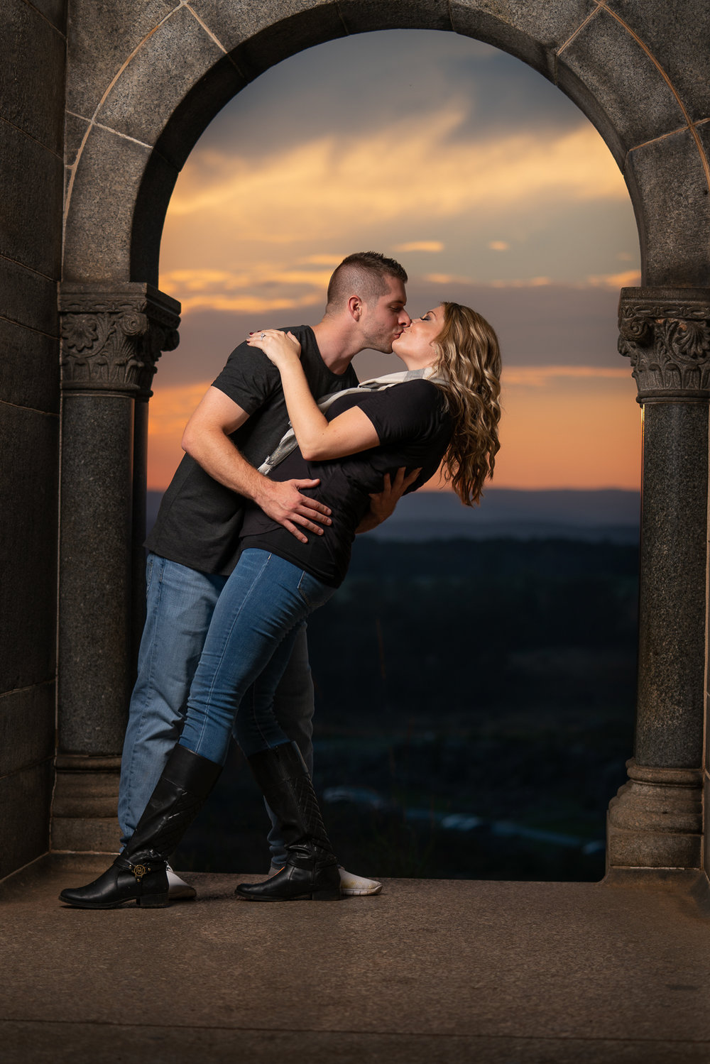 Sunset Engagement Session at the Castle Monument at LIttle Round Top in the Gettysburg National Military Park, Gettysburg, PA.