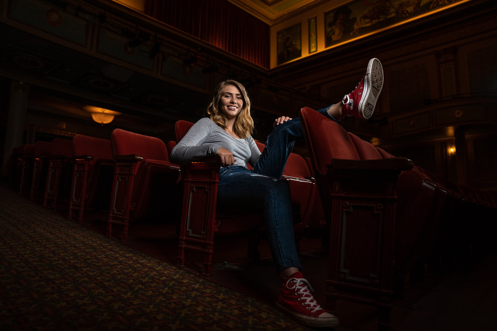 Senior Portrait Session at the historic Strand Capitol Theater at the Appell Center for the Performing Arts