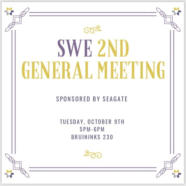 Join us at our second general meeting of the year! Come learn about our SWE Week events and get the chance to network with professionals. ALL are welcome (that means you and your roommates and your friends and your friend's friends!) As always, enjoy free pizza and giveaways. This general meeting is sponsored by Seagate.