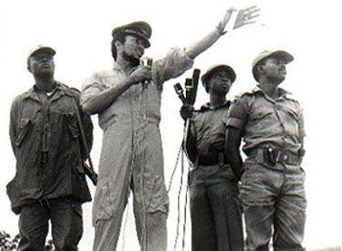 Flight Lt. Jerry John Rawlings delivers a speech following the June 4 Uprising (1979)