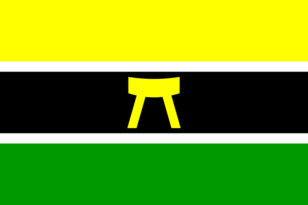 Flag of the Ashanti Nation which includes the Golden Stool