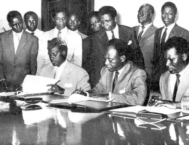 The Union of African States was a short lived alliance formed in 1959 between the newly independent Mali, Ghana, and Guinea. Leaders from left to right: Modibo Keita, Kwame Nkrumah, and Ahmed Sekou Toure.
