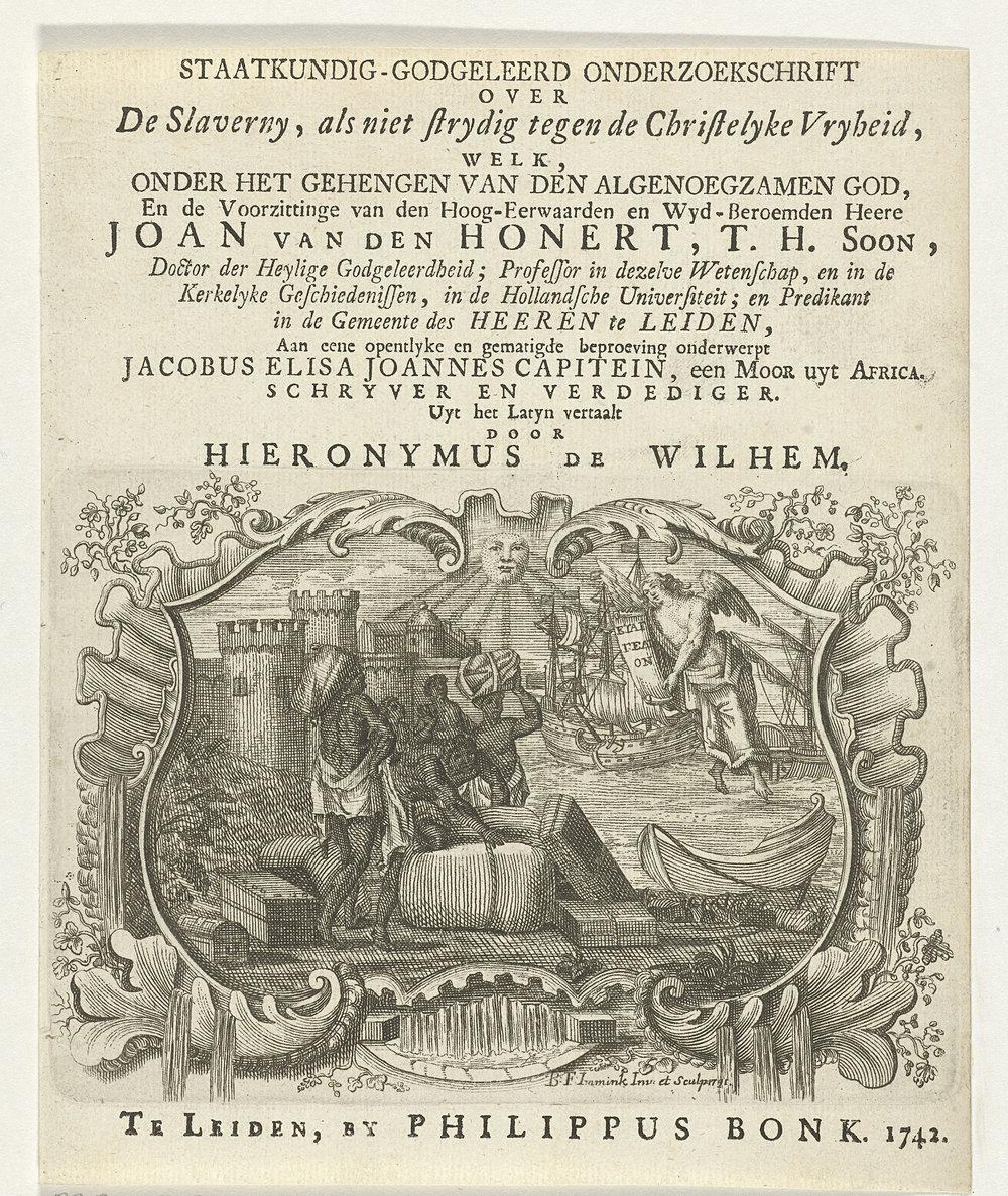 """Title page of Capitein's dissertation: """" De servitude, libertati christianae non contraria"""" or """"Servitude, Christian Liberty non-Contrary"""""""