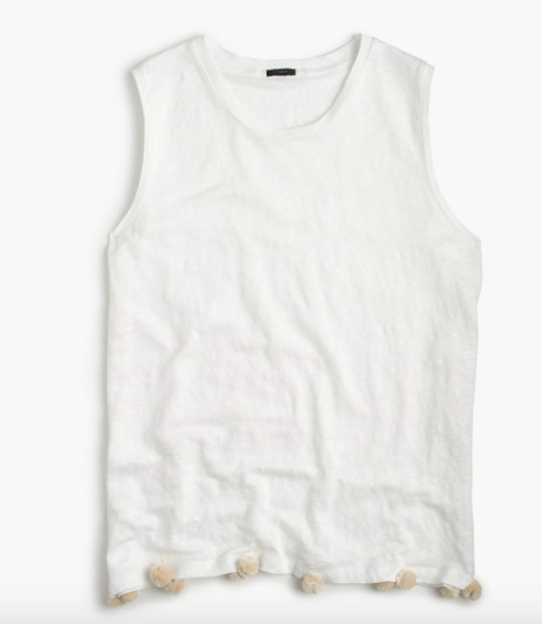 bdf301a4f20e This tank is PERFECT for those hot summer days going to the beach or paired  with some jeans for a night out to dinner. The pom poms give this classic  white ...