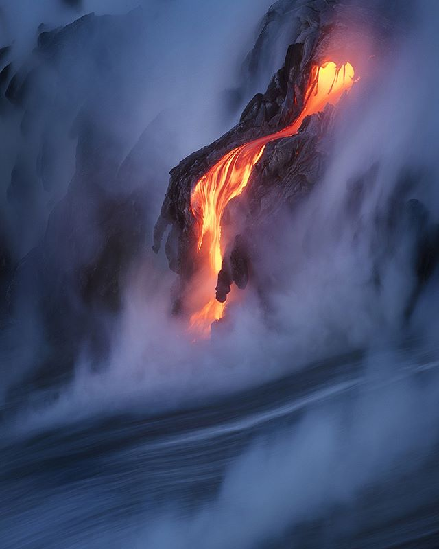 """Molten"" An incredible display of lava at the ocean entry on the Big Island of Hawaii. Thanks to Bruce Omori for being the best of the best, and getting us to and from this location safely! * * * * * #awesome_photographers #jaw_dropping_shots #earthpix #earthfocus #neverstopexploring #optoutside #wander #superhubs #hubs_united #naturegram #naturelover #teamcanon #travelawesome #ig_masterpiece #ig_shotz"