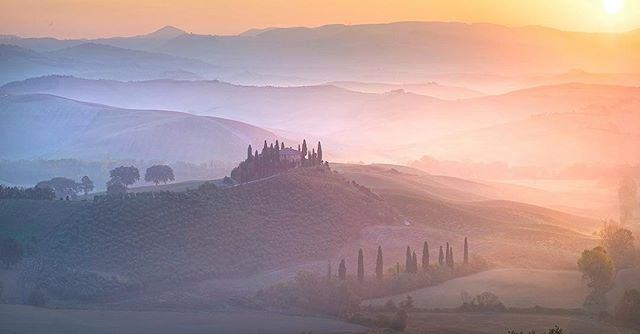 """Layers of Light"" With fall color dwindling in Croatia, we made the impromptu call to head to Tuscany for the last few days of our trip. This particular morning was incredible, as the sun broke through the thick morning fog, illuminating each ridge of the seemingly endless rolling hills."