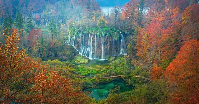 """Enchantment"" Plitvice National Park in Croatia is one of the most mesmerizing places I have ever travelled to. Within the park there are 16 lakes connected by hundreds of different waterfalls. The colors throughout the park were incredible; the emerald green water and the burnt orange leaves made for amazing contrast! To reach this vantage point, we got up at 3am and hiked for several miles in the dark to reach this scene before sunrise to capture fog lingering above the falls. Thanks for looking!"