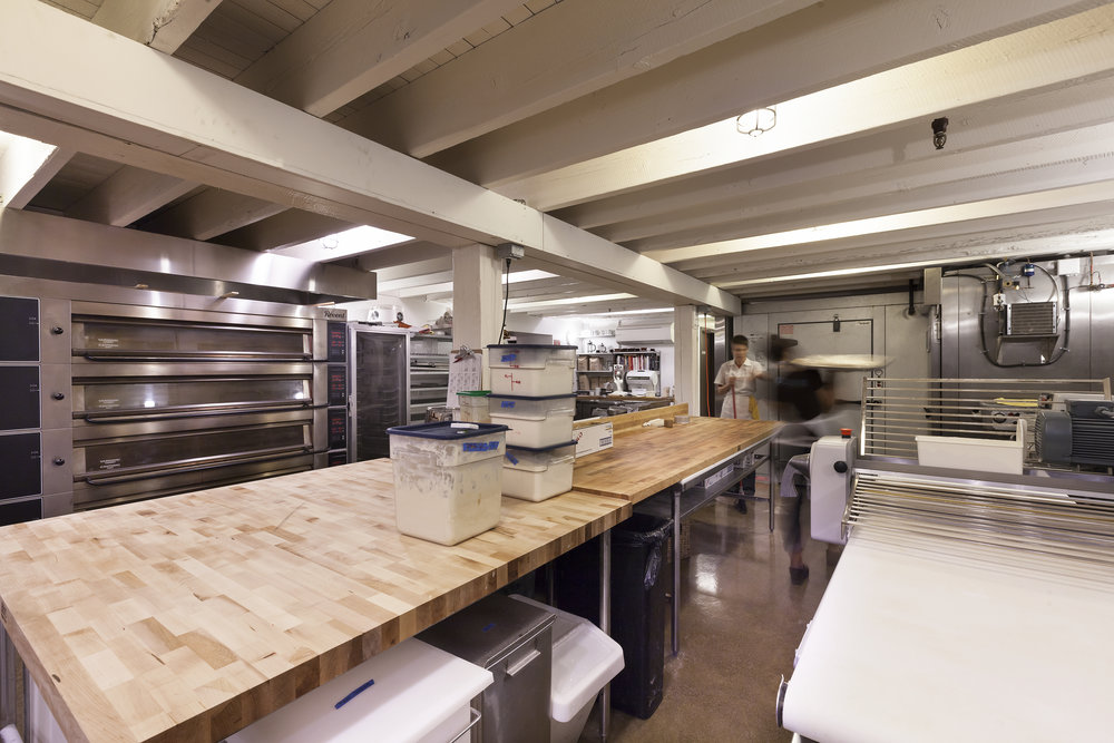 restored commercial basement, commercial bakery and kitchen