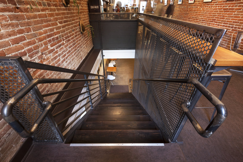 interior commercial restoration, industrial stairs