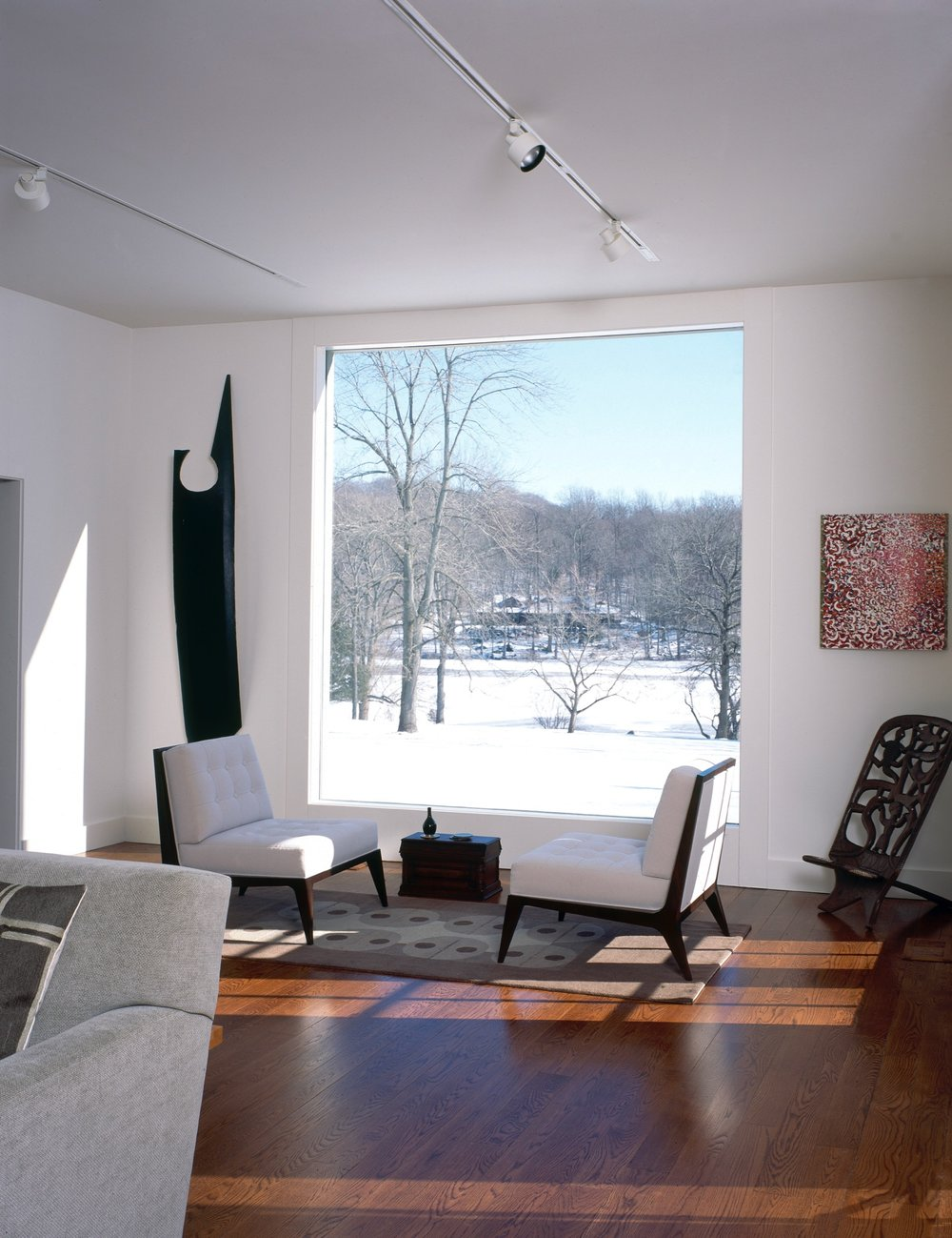Modern room with white walls in winter