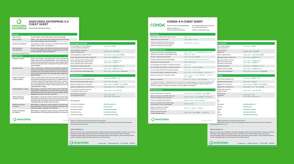 Technical documentation and community are important so there were many cheat sheets made. View the latest conda cheat sheet.