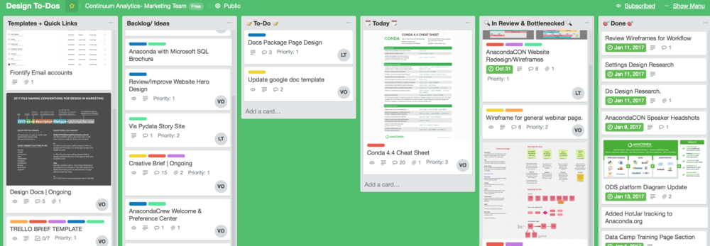 I created and updated the Design Trello board for keeping task organized for myself and the team