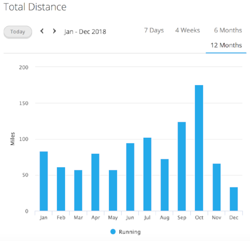 Total miles per month during 2018