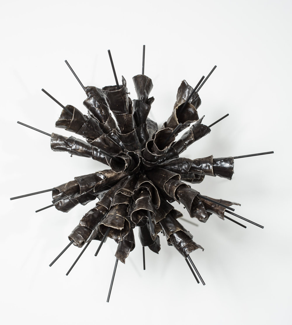 Recurring...#32_ 2015_ Waxed cloth_ nuts_ bolts_ steel_ 28 x 28 x 28 inches.JPG