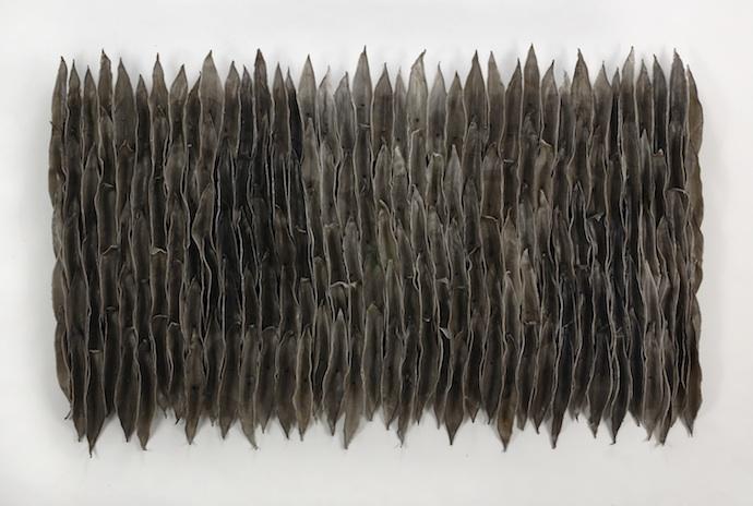 "Fluctuations (dark), 2007, Waxed cloth, screws, 35"" x 56"" x 2"""