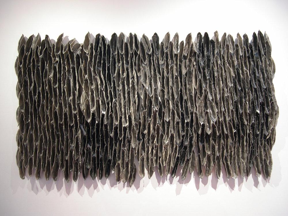 "Low Tide (Dark), 2007, Waxed cloth, nuts, bolts, welded steel, 51"" x 90"" x 7"""