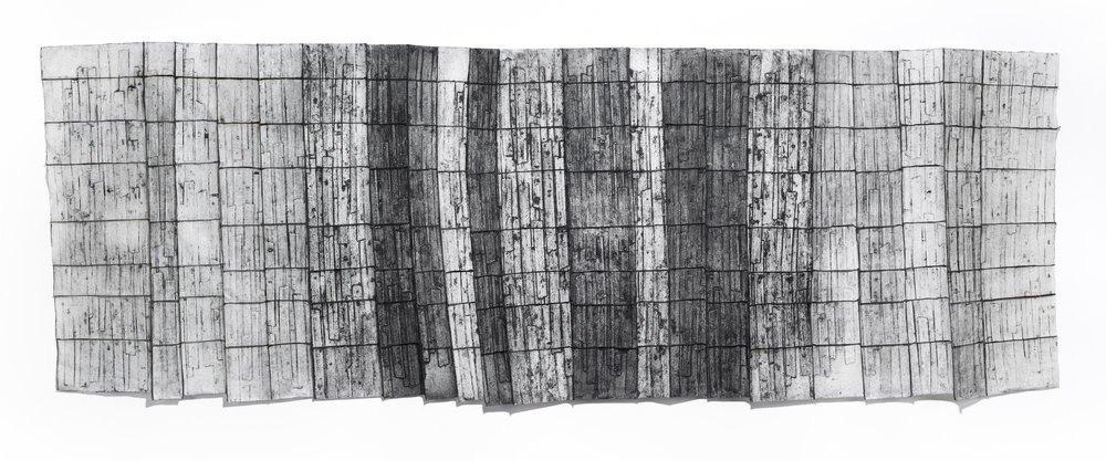 Partitioning,  2017, Deconstructed collagraph prints on kozo paper, thread, wax, 30 x 95.5 x 3 inches