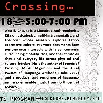 March 20, Alex Chavez guest lecture at UC Berkeley, 5 pm, 221 Kroeber Hall. #folkloreroundtable #ucberkeley #berkeley #soundstudies #performancestudies #folklorico #latinx #huapangoarribeño