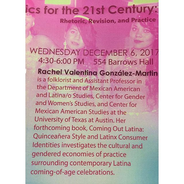 Today! 12/6 talk on quinceañeras, critical Latinx Folkloristics for the 21st century, and participatory ethnographic fieldwork practices. 4:30-6:00 pm, 554 Barrows Hall, UC Berkeley. #berkeley #folklore #Latinx #ucberkeley #quinceañera