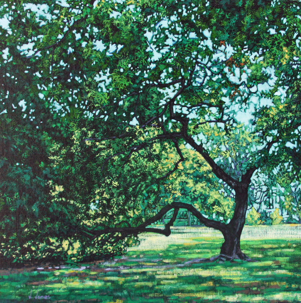 "Central Park Lime, 18"" x 18"" Oil on Linen"