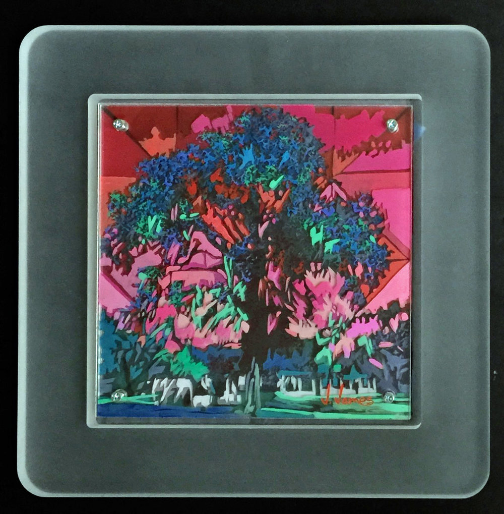 "Under A Mexican Sky, 8"" x 8"" Acrylic on Multi-Layered Acrylic Glass"