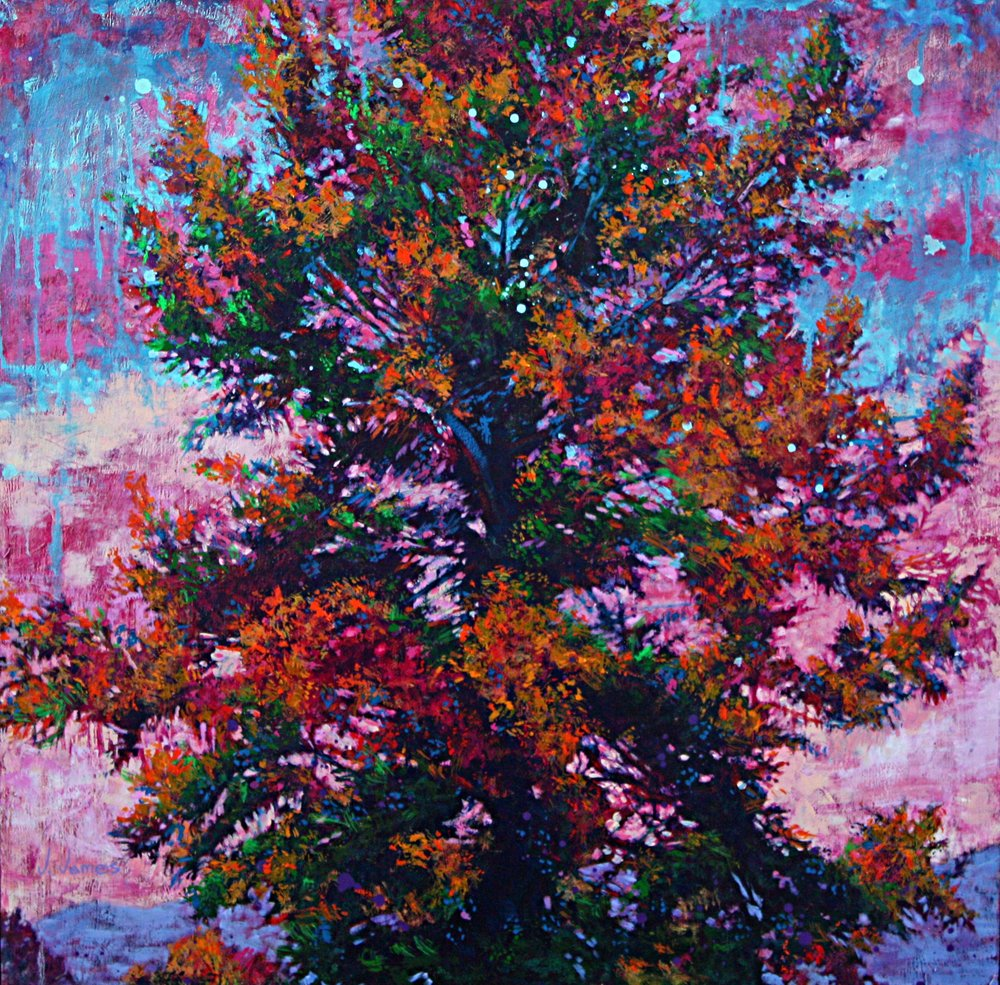 "Purple Mountain, 24"" x 24"" Oil on Board"