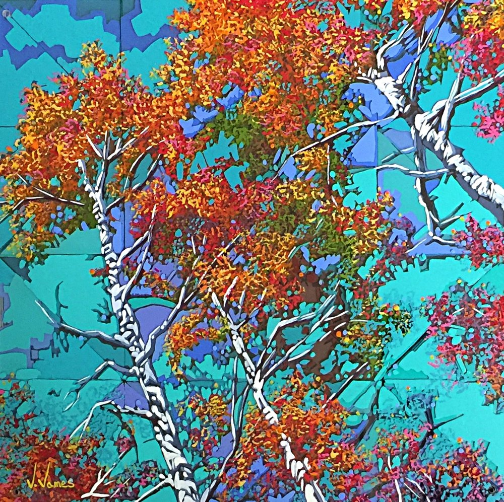 """The Perfect Roost, 15"""" x 15"""" Acrylic on Multi-Layered Acrylic Glass"""